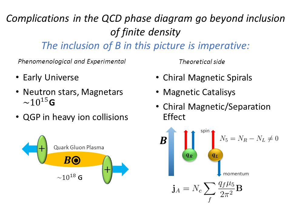 Magnetic field in the QCD phase diagram Magnetic catalisys has been observed in effective field theories and lattice QCD (although with unphysical masses) Chemical Potential Chiral Boundary Chirality is locked with the spin So if we apply a magnetic field momentum spin
