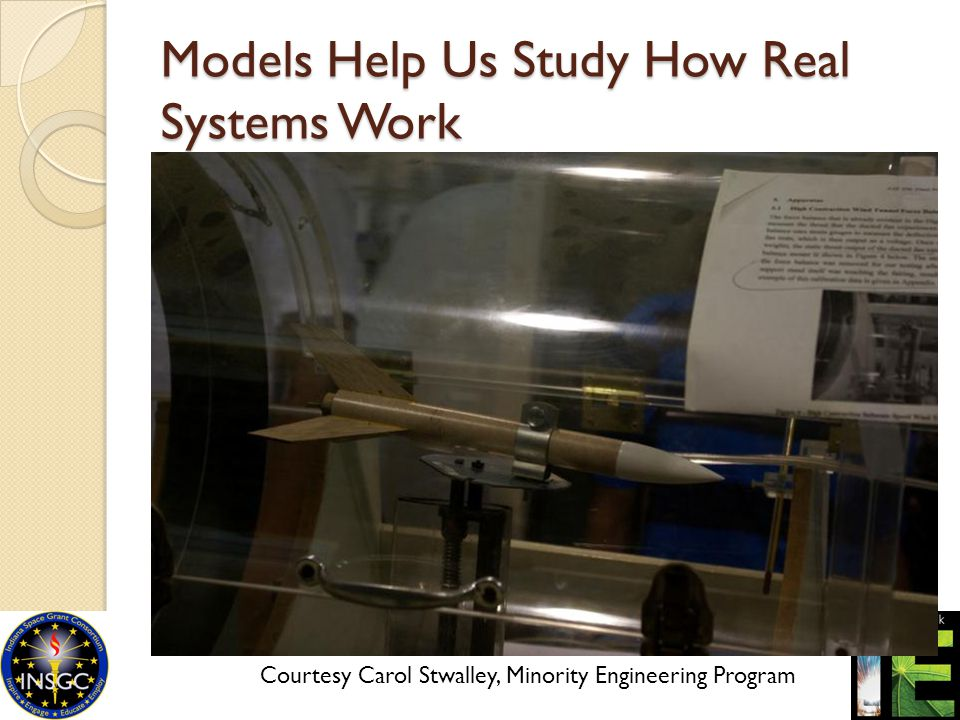 Models Help Us Study How Real Systems Work Courtesy Carol Stwalley, Minority Engineering Program