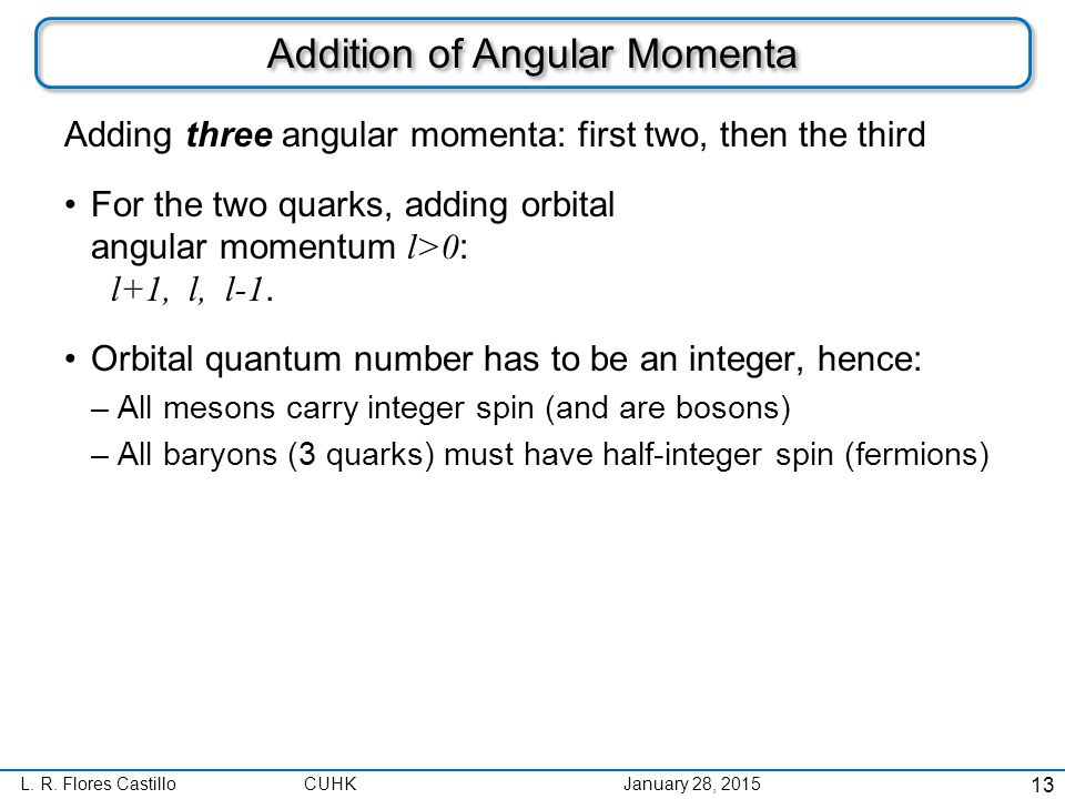 L. R. Flores CastilloCUHK January 28, 2015 Addition of Angular Momenta Adding three angular momenta: first two, then the third For the two quarks, add