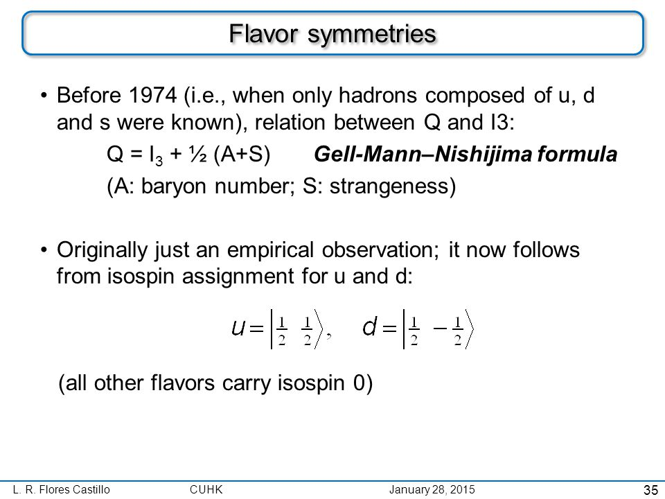 L. R. Flores CastilloCUHK January 28, 2015 Flavor symmetries Before 1974 (i.e., when only hadrons composed of u, d and s were known), relation between