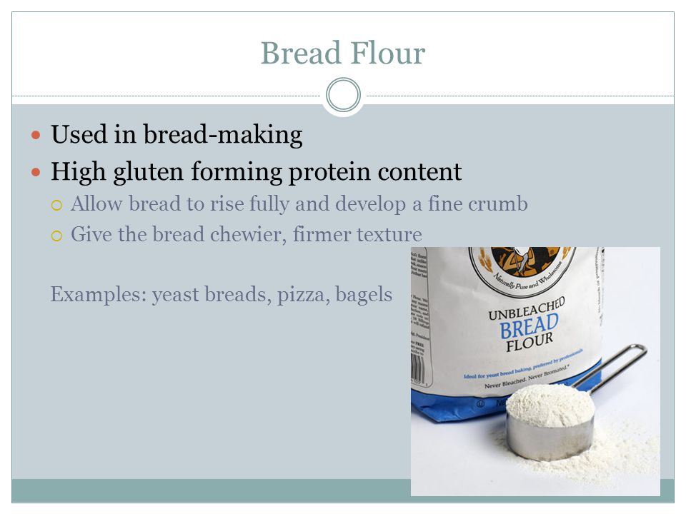 Cake Flour Lower in protein than bread flour and pastry flour Produces a softer and more tender product Bleached with chlorine to help produce a fine, white crumb in cakes