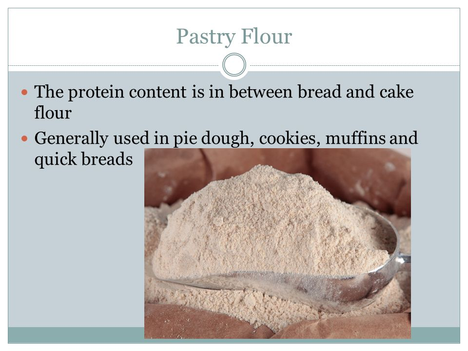 Pastry Flour The protein content is in between bread and cake flour Generally used in pie dough, cookies, muffins and quick breads
