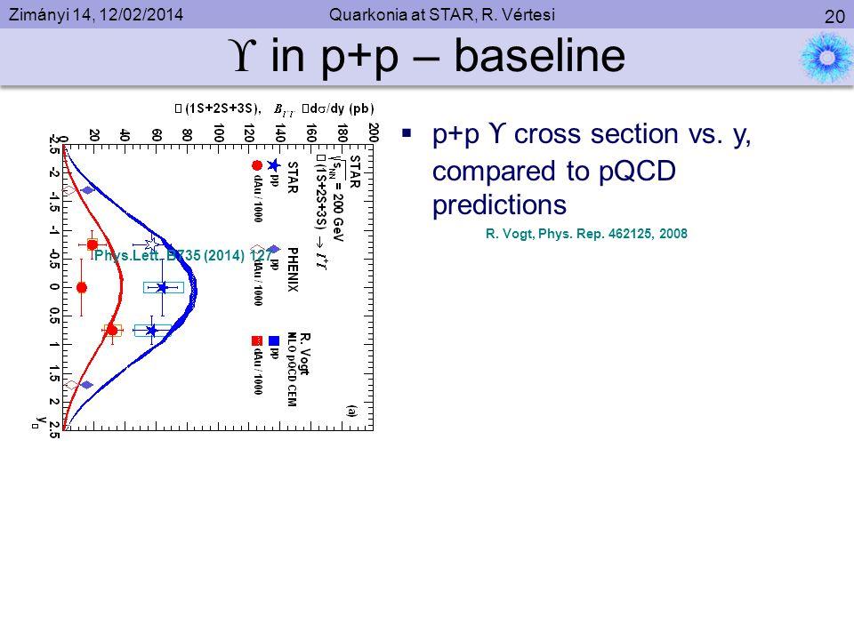 Zimányi 14, 12/02/2014Quarkonia at STAR, R. Vértesi 20  in p+p – baseline Phys.Lett.