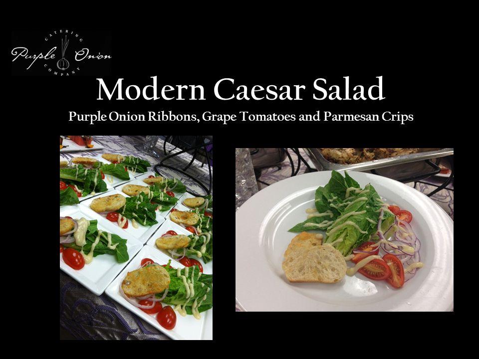 Modern Caesar Salad Purple Onion Ribbons, Grape Tomatoes and Parmesan Crips