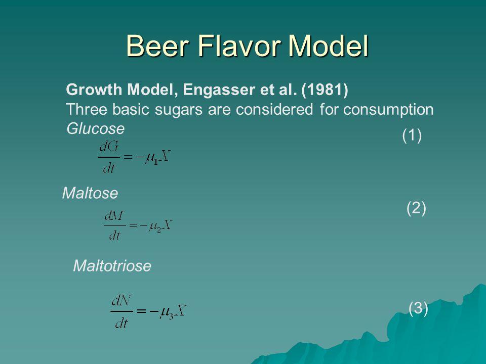 Beer Flavor Model Beer Flavor Model Growth Model, Engasser et al. (1981) Three basic sugars are considered for consumption Glucose (1) Maltose (2) Mal