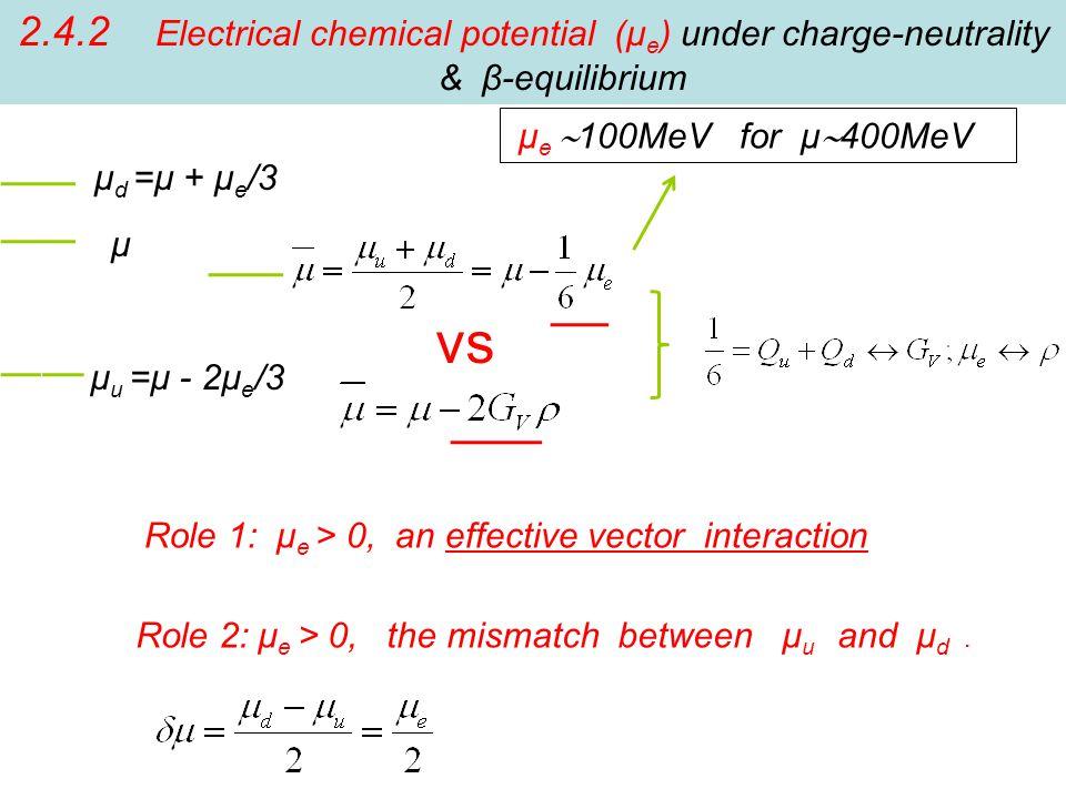 μ u =μ - 2μ e /3 μ d =μ + μ e /3 μ μ e  100MeV for μ  400MeV 2.4.2 Electrical chemical potential (μ e ) under charge-neutrality & β-equilibrium vs Role 1: μ e > 0, an effective vector interaction Role 2: μ e > 0, the mismatch between μ u and μ d.
