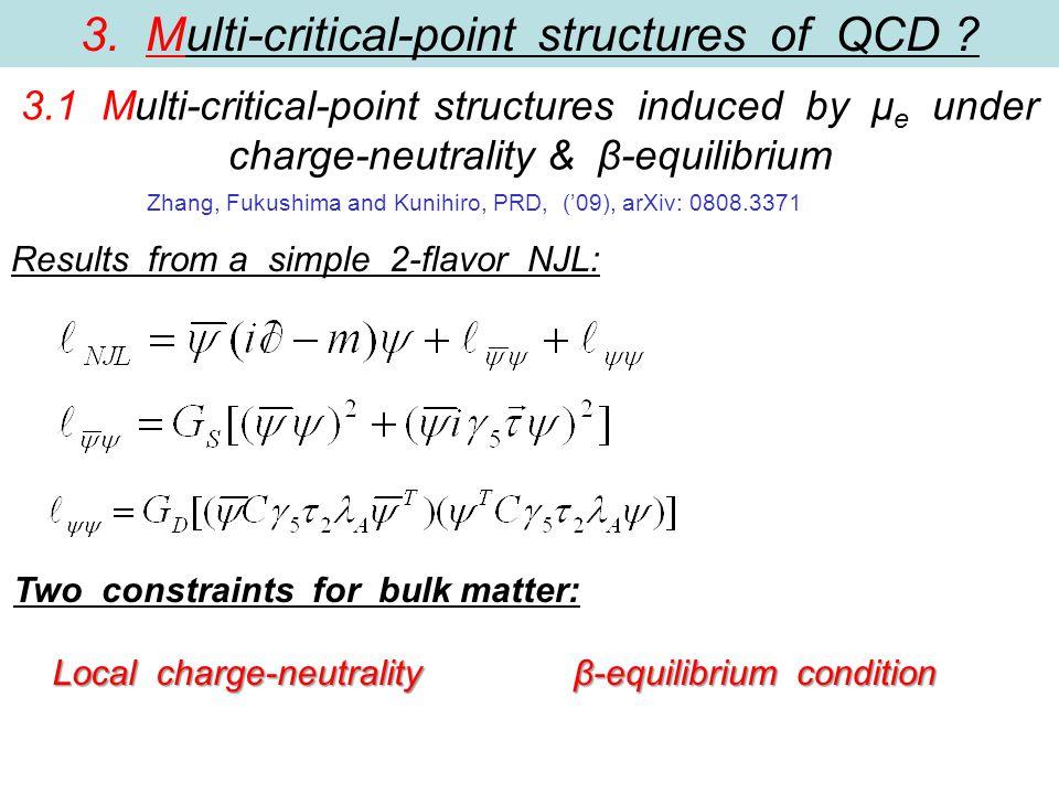 β-equilibrium condition Zhang, Fukushima and Kunihiro, PRD, ('09), arXiv: 0808.3371 Local charge-neutrality Two constraints for bulk matter: Results from a simple 2-flavor NJL: 3.