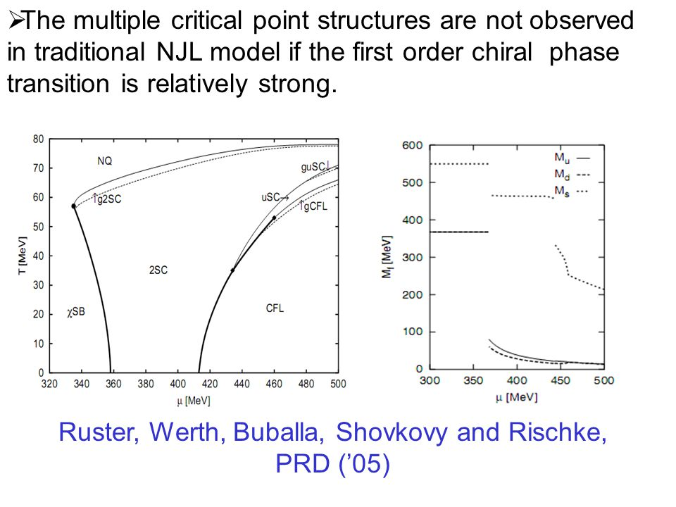  The multiple critical point structures are not observed in traditional NJL model if the first order chiral phase transition is relatively strong.