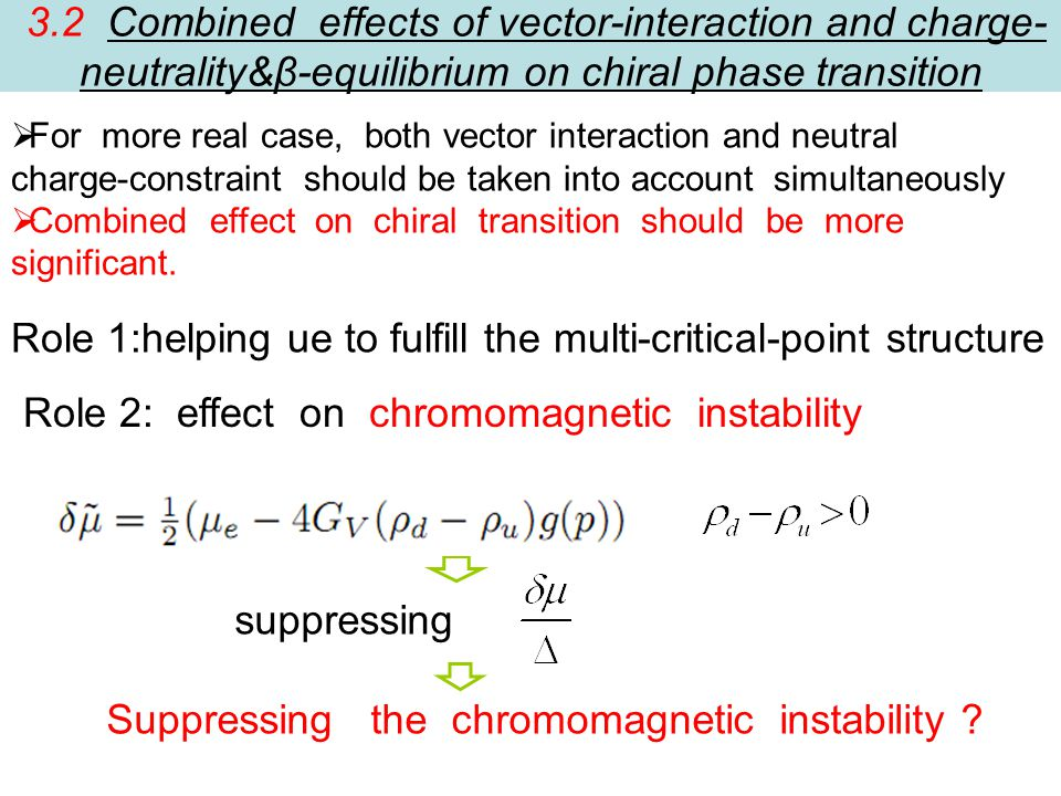 3.2 Combined effects of vector-interaction and charge- neutrality&β-equilibrium on chiral phase transition  For more real case, both vector interaction and neutral charge-constraint should be taken into account simultaneously  Combined effect on chiral transition should be more significant.