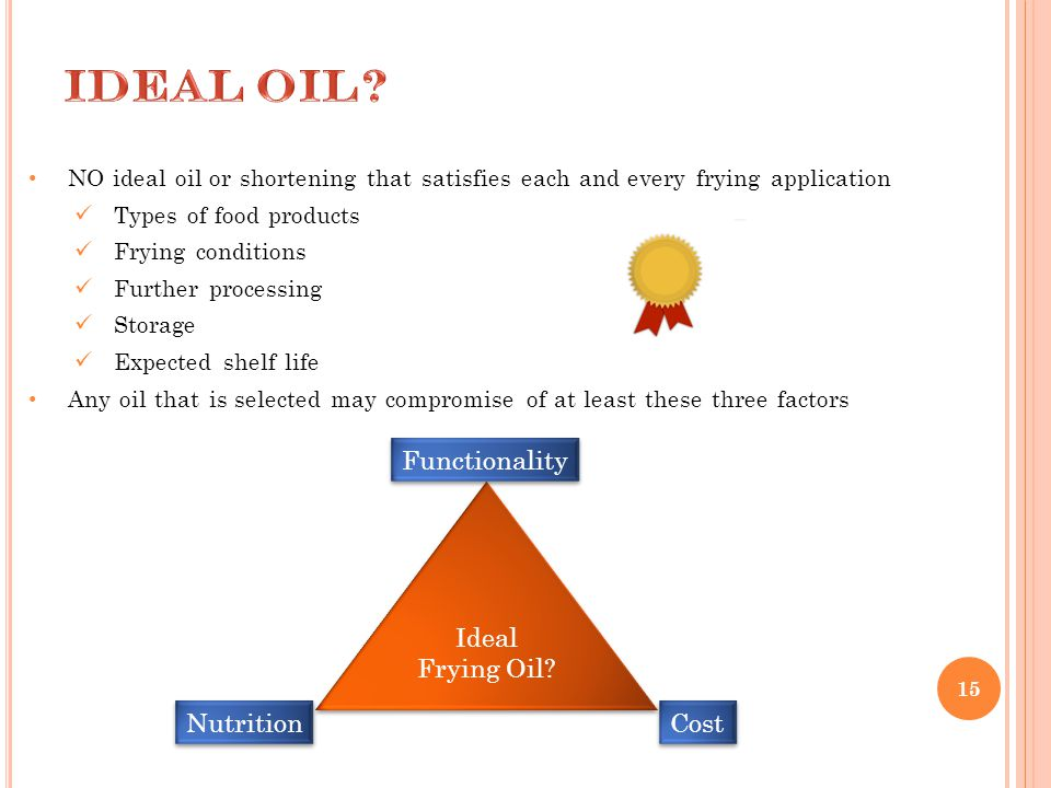 15 NO ideal oil or shortening that satisfies each and every frying application Types of food products Frying conditions Further processing Storage Exp
