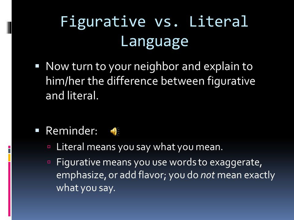 "Figurative vs. Literal Language  Wikipedia states: ""Literal language refers to words that do not deviate from their defined meaning. Figurative langu"