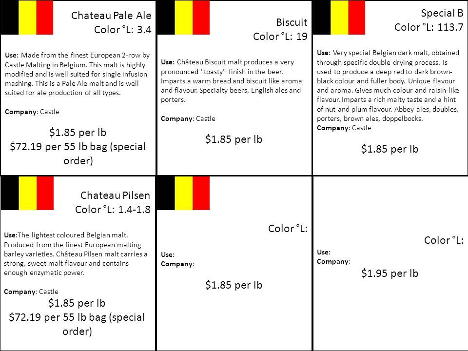 Chateau Pale Ale Color °L: 3.4 Use: Made from the finest European 2-row by Castle Malting in Belgium.