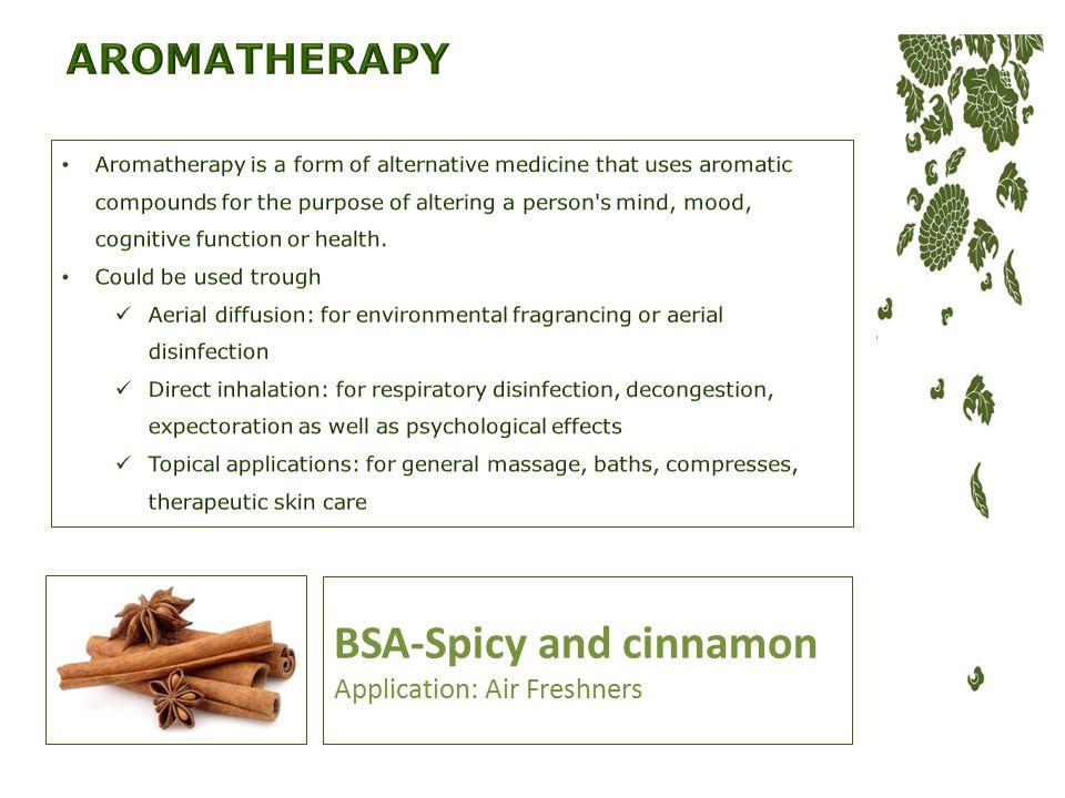 BSA-Spicy and cinnamon Application: Air Freshners