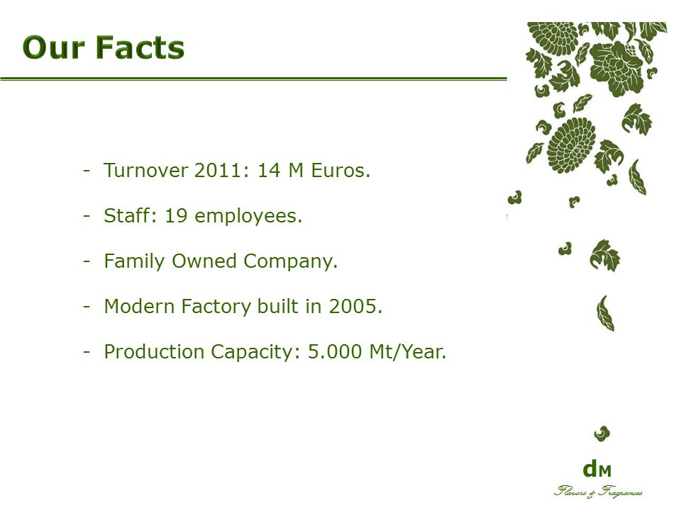 -Turnover 2011: 14 M Euros. -Staff: 19 employees. -Family Owned Company. -Modern Factory built in 2005. -Production Capacity: 5.000 Mt/Year. d M Flavo