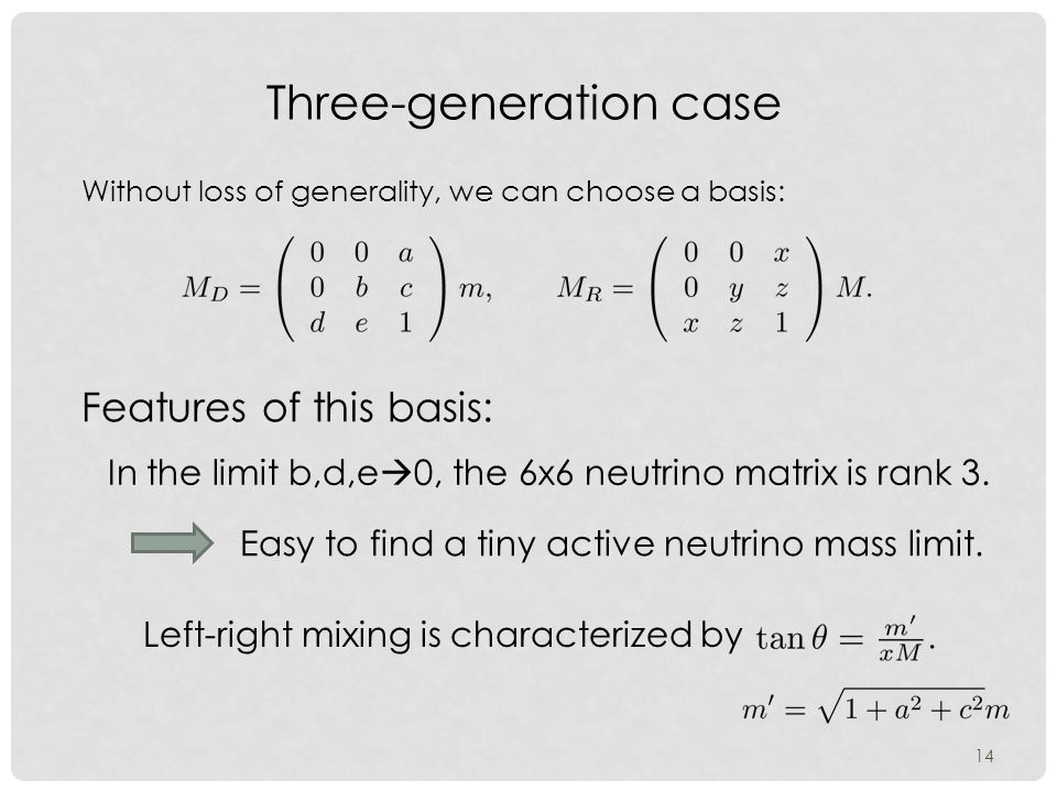 14 Three-generation case Without loss of generality, we can choose a basis: In the limit b,d,e  0, the 6x6 neutrino matrix is rank 3.