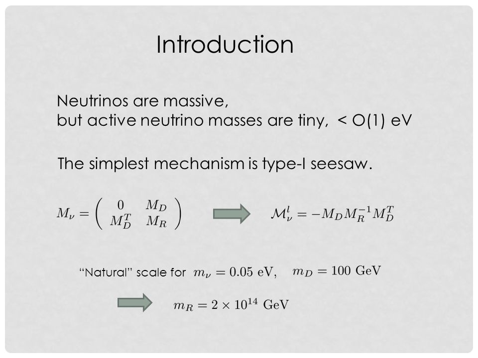 Introduction Neutrinos are massive, but active neutrino masses are tiny, < O(1) eV The simplest mechanism is type-I seesaw.