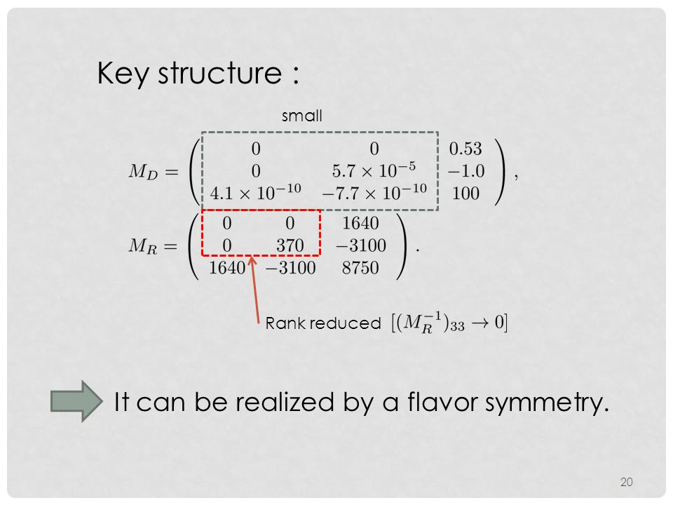 20 small Rank reduced Key structure : It can be realized by a flavor symmetry.