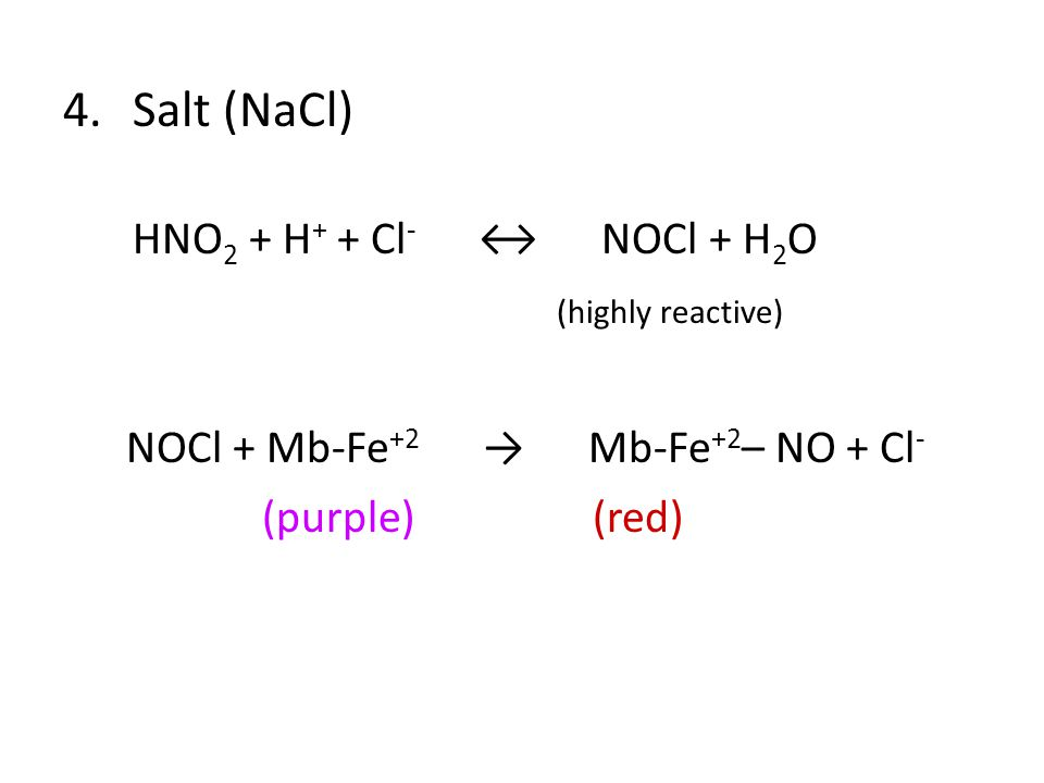 4.Salt (NaCl) HNO 2 + H + + Cl - ↔ NOCl + H 2 O (highly reactive) NOCl + Mb-Fe +2 → Mb-Fe +2 – NO + Cl - (purple) (red)