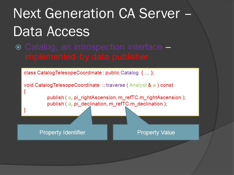 Next Generation CA Server – Data Access  Catalog, an introspection interface – implemented by data publisher class CatalogTelesopeCoordinate : public