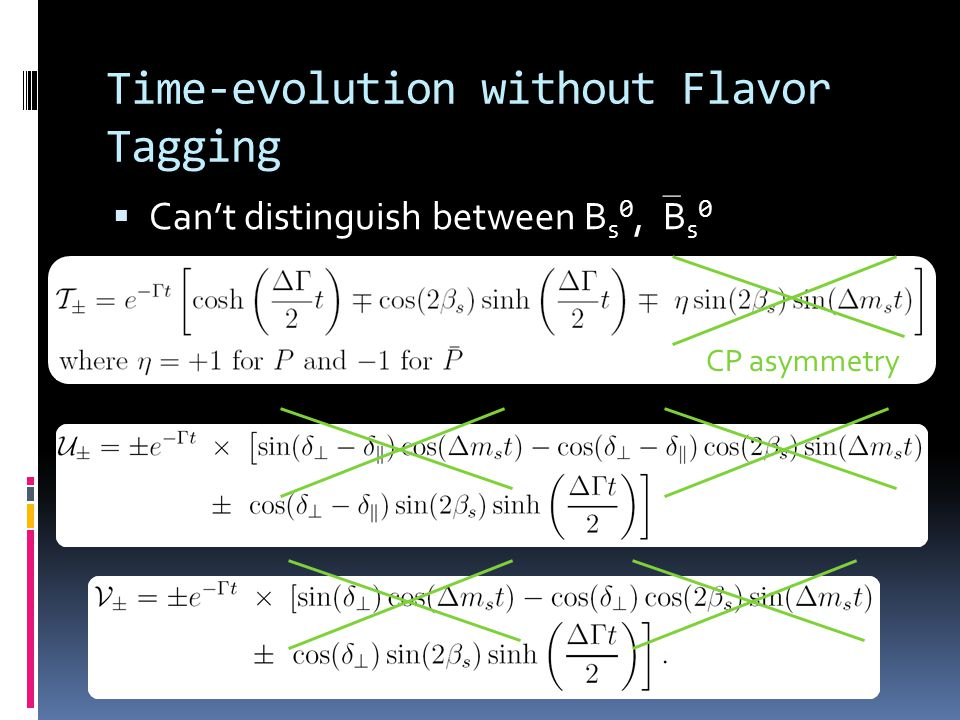 Time-evolution without Flavor Tagging  Can't distinguish between B s 0,  B s 0 CP asymmetry