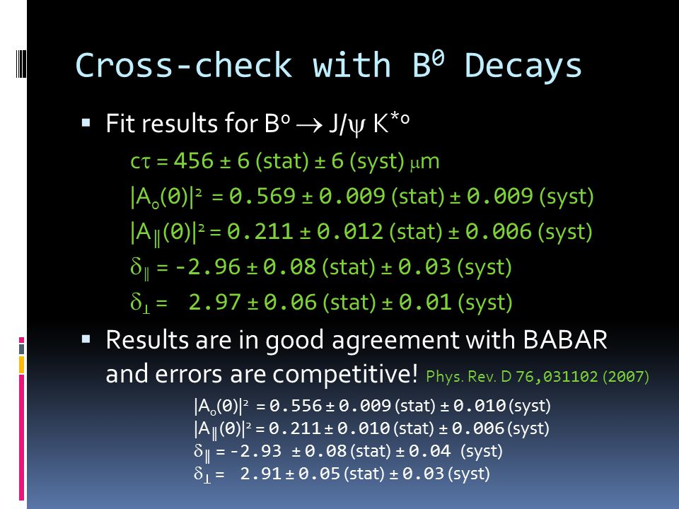 Cross-check with B 0 Decays  Fit results for B 0  J/  K *0 c  = 456 ± 6 (stat) ± 6 (syst)  m |A 0 ( 0 )| 2 = 0.569 ± 0.009 (stat) ± 0.009 (syst) |A ║ ( 0 )| 2 = 0.211 ± 0.012 (stat) ± 0.006 (syst)  ║ = -2.96 ± 0.08 (stat) ± 0.03 (syst)   = 2.97 ± 0.06 (stat) ± 0.01 (syst)  Results are in good agreement with BABAR and errors are competitive.