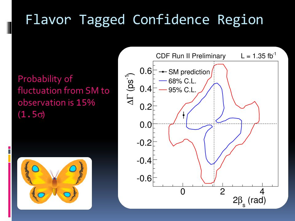 Flavor Tagged Confidence Region Probability of fluctuation from SM to observation is 15 % ( 1.5 )
