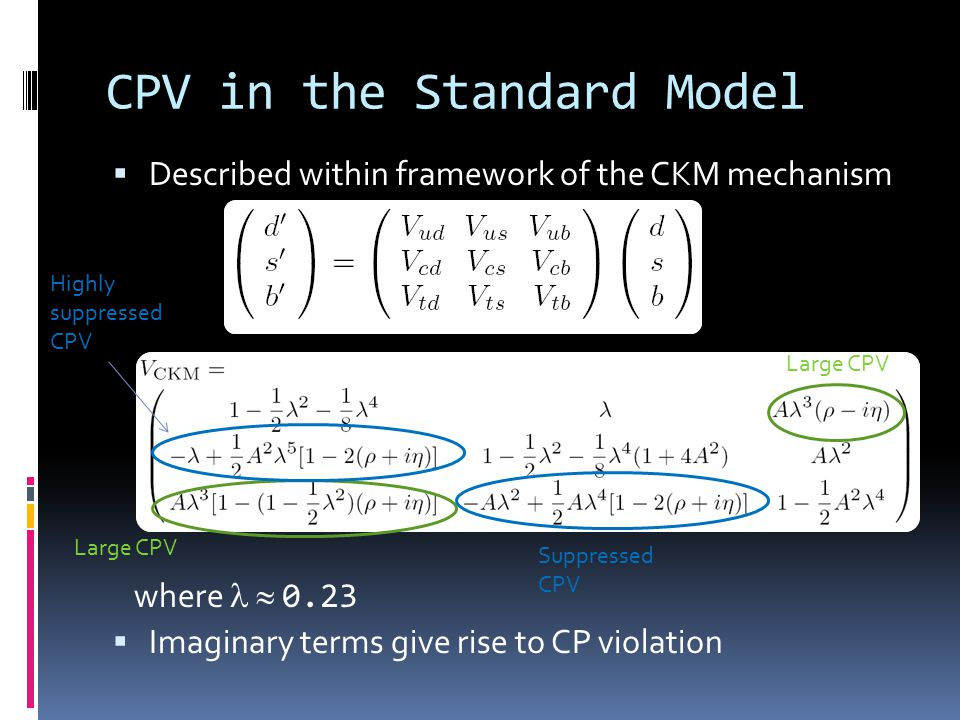 CPV in the Standard Model  Described within framework of the CKM mechanism where  0.23  Imaginary terms give rise to CP violation Large CPV Suppressed CPV Large CPV Highly suppressed CPV