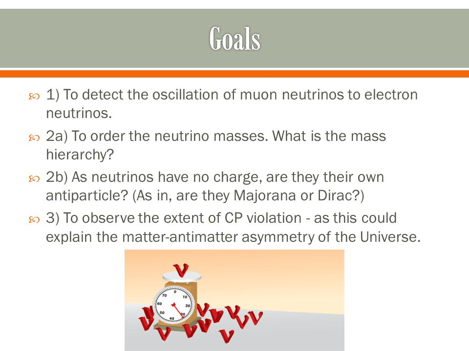  1) To detect the oscillation of muon neutrinos to electron neutrinos.