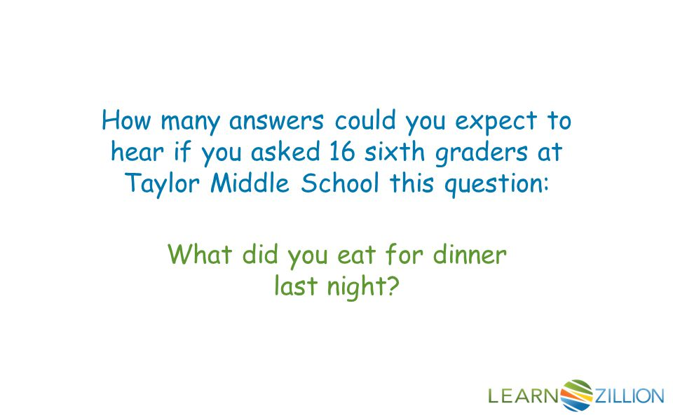 How many answers could you expect to hear if you asked 16 sixth graders at Taylor Middle School this question: What did you eat for dinner last night?
