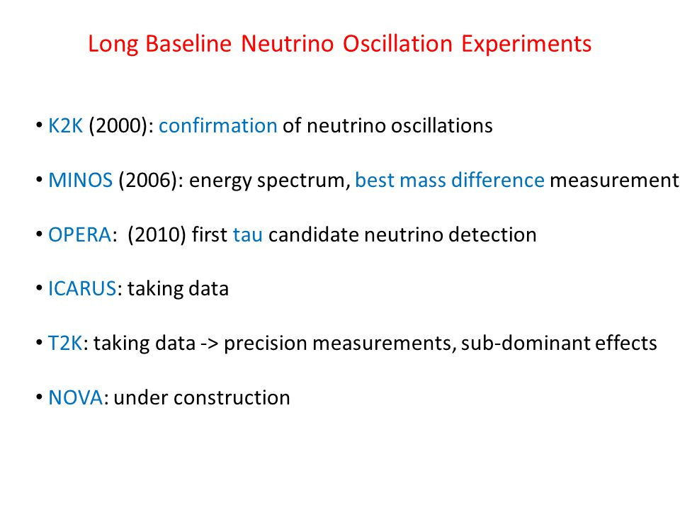 Long Baseline Neutrino Oscillation Experiments K2K (2000): confirmation of neutrino oscillations MINOS (2006): energy spectrum, best mass difference measurement OPERA: (2010) first tau candidate neutrino detection ICARUS: taking data T2K: taking data -> precision measurements, sub-dominant effects NOVA: under construction