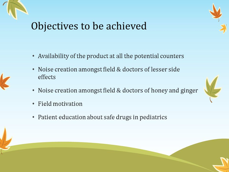 Objectives to be achieved Availability of the product at all the potential counters Noise creation amongst field & doctors of lesser side effects Nois