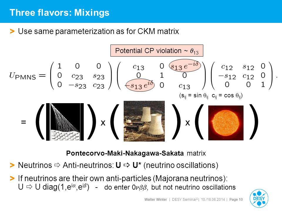 Walter Winter | DESY Seminar 2 | 10./18.06.2014 | Page 10 Three flavors: Mixings > Use same parameterization as for CKM matrix Pontecorvo-Maki-Nakagaw