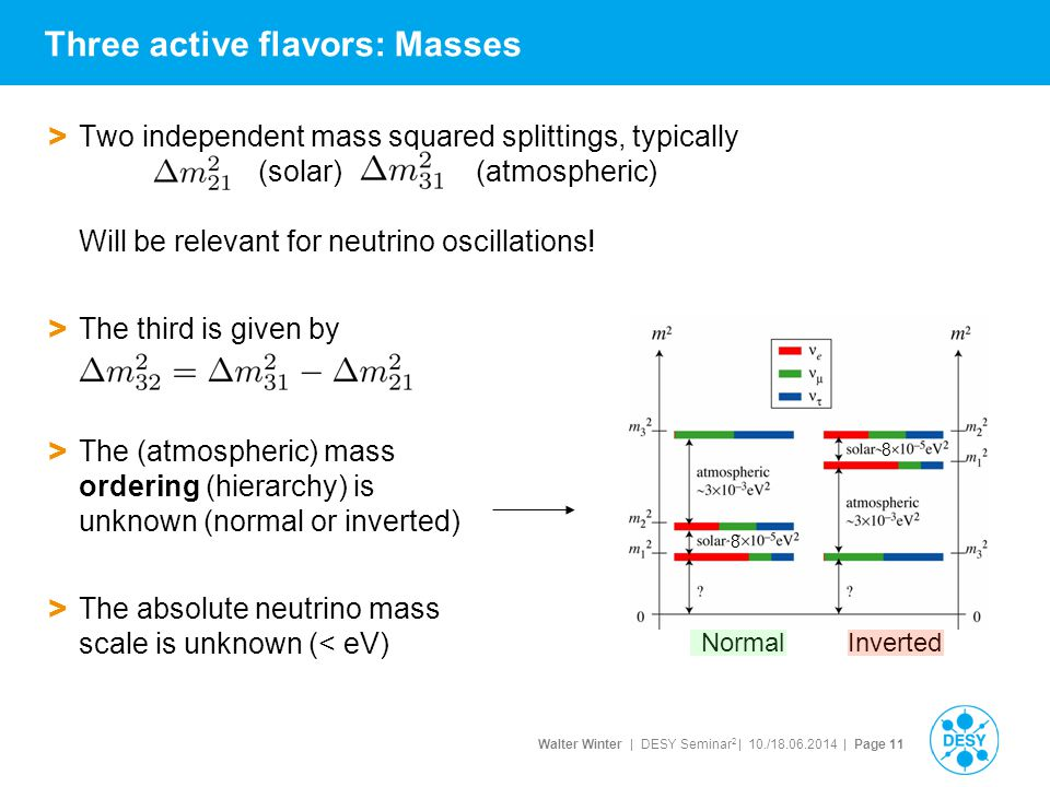 Walter Winter | DESY Seminar 2 | 10./18.06.2014 | Page 11 > Two independent mass squared splittings, typically (solar) (atmospheric) Will be relevant