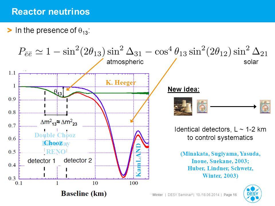 Walter Winter | DESY Seminar 2 | 10./18.06.2014 | Page 16 Reactor neutrinos > In the presence of  13 : K. Heeger atmosphericsolar Double Chooz Daya B