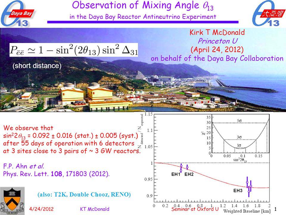Walter Winter | DESY Seminar 2 | 10./18.06.2014 | Page 17 (also: T2K, Double Chooz, RENO) (short distance)