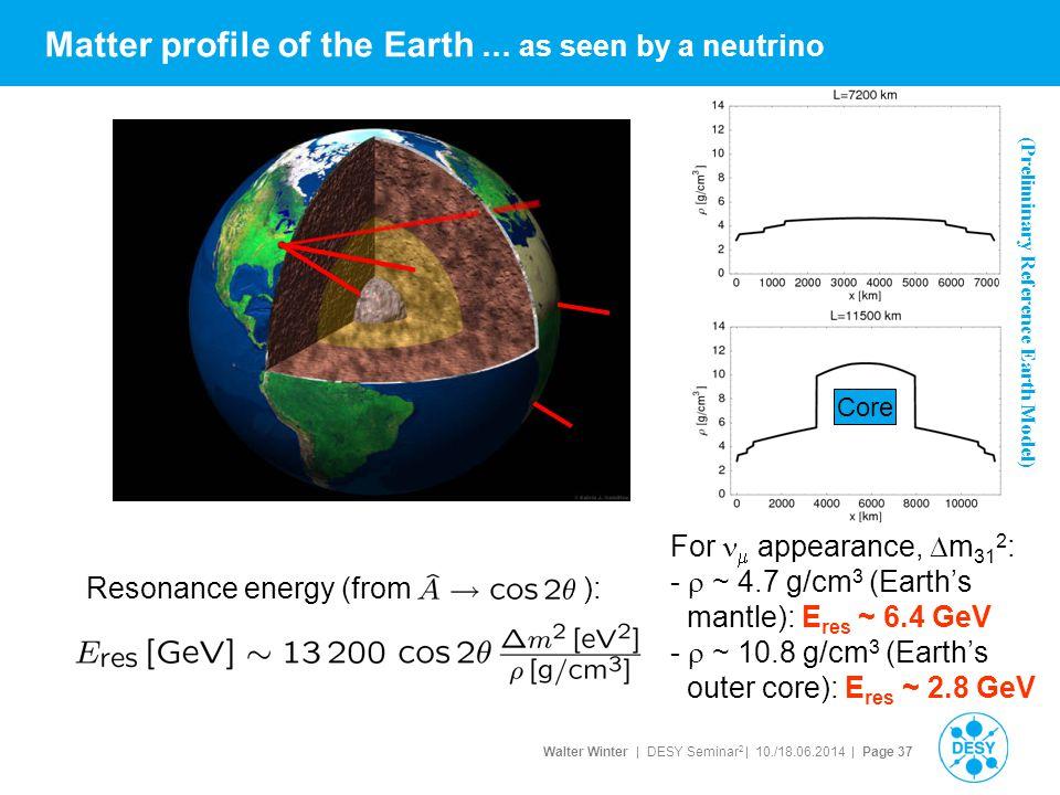 Walter Winter | DESY Seminar 2 | 10./18.06.2014 | Page 37 Matter profile of the Earth … as seen by a neutrino (Preliminary Reference Earth Model) Core