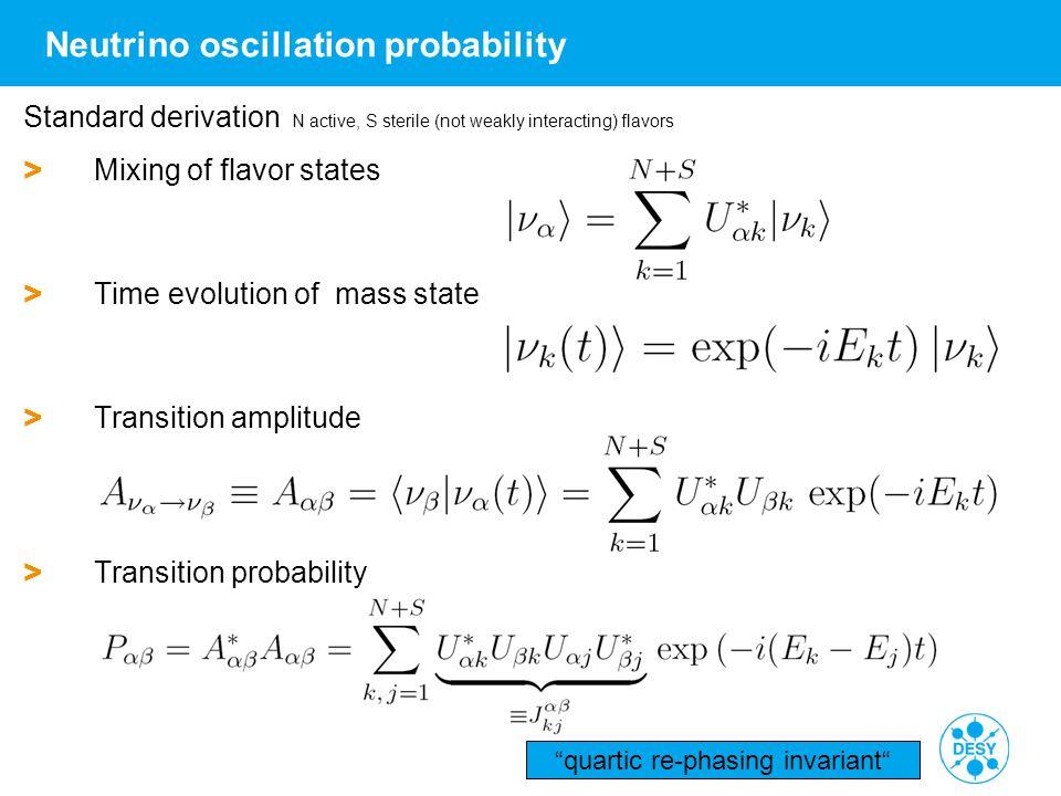 "Walter Winter | DESY Seminar 2 | 10./18.06.2014 | Page 7 Neutrino oscillation probability ""quartic re-phasing invariant"" Standard derivation N active,"