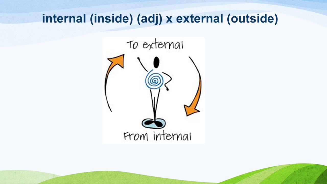 internal (inside) (adj) x external (outside)