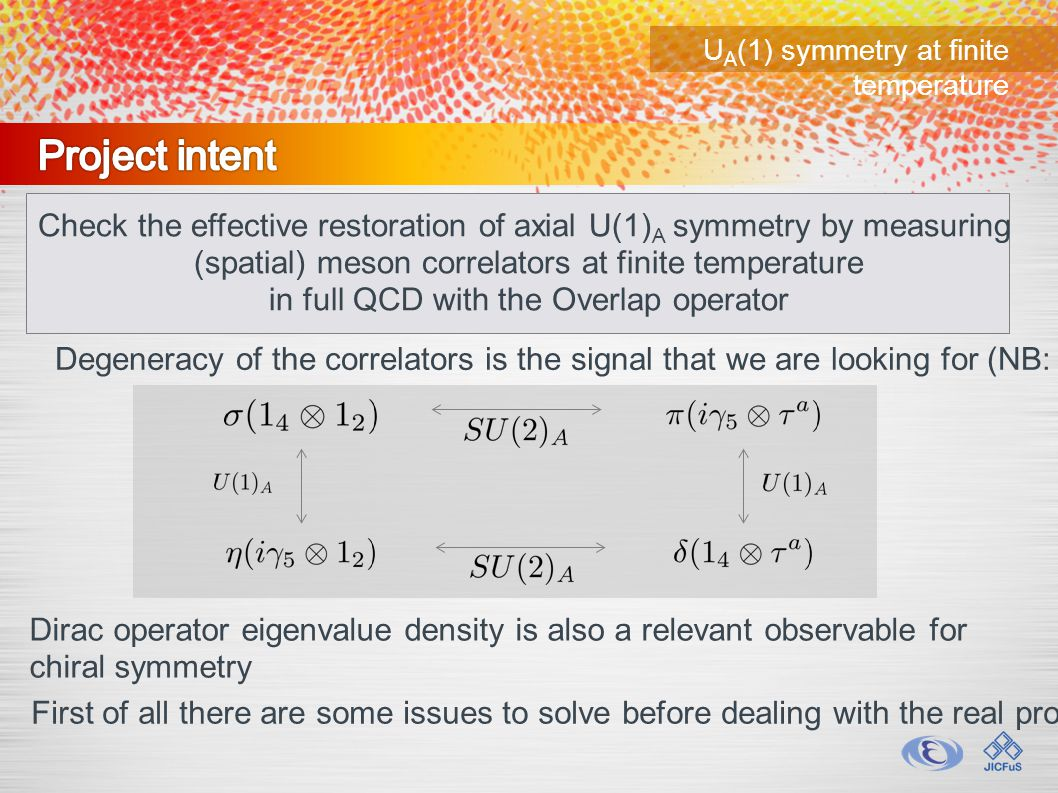 U A (1) symmetry at finite temperature Check the effective restoration of axial U(1) A symmetry by measuring (spatial) meson correlators at finite temperature in full QCD with the Overlap operator Degeneracy of the correlators is the signal that we are looking for (NB: 2 flavors) First of all there are some issues to solve before dealing with the real problem...