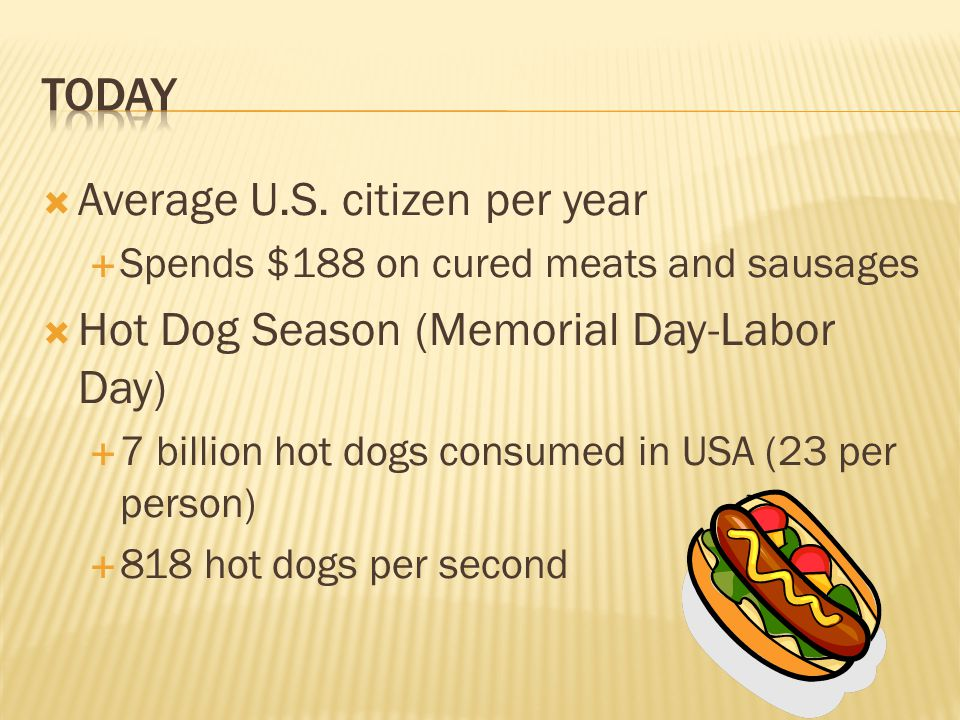 Average U.S. citizen per year  Spends $188 on cured meats and sausages  Hot Dog Season (Memorial Day-Labor Day)  7 billion hot dogs consumed in U
