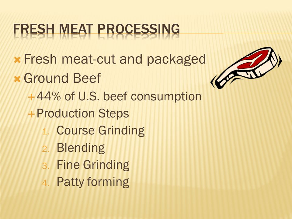  Fresh meat-cut and packaged  Ground Beef  44% of U.S.