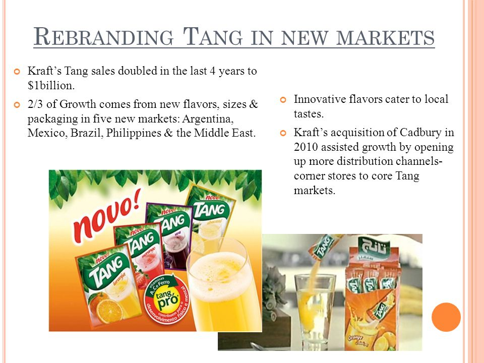 R EBRANDING T ANG IN NEW MARKETS Kraft's Tang sales doubled in the last 4 years to $1billion.