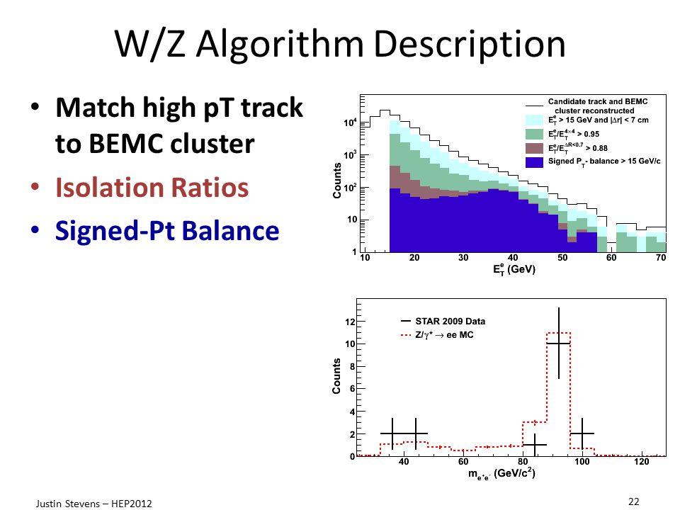 W/Z Algorithm Description Match high pT track to BEMC cluster Isolation Ratios Signed-Pt Balance 22 Justin Stevens – HEP2012