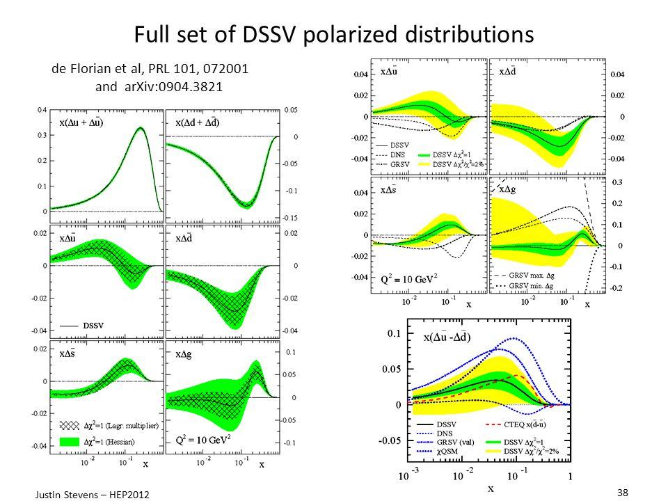 Full set of DSSV polarized distributions de Florian et al, PRL 101, 072001 and arXiv:0904.3821 38 Justin Stevens – HEP2012