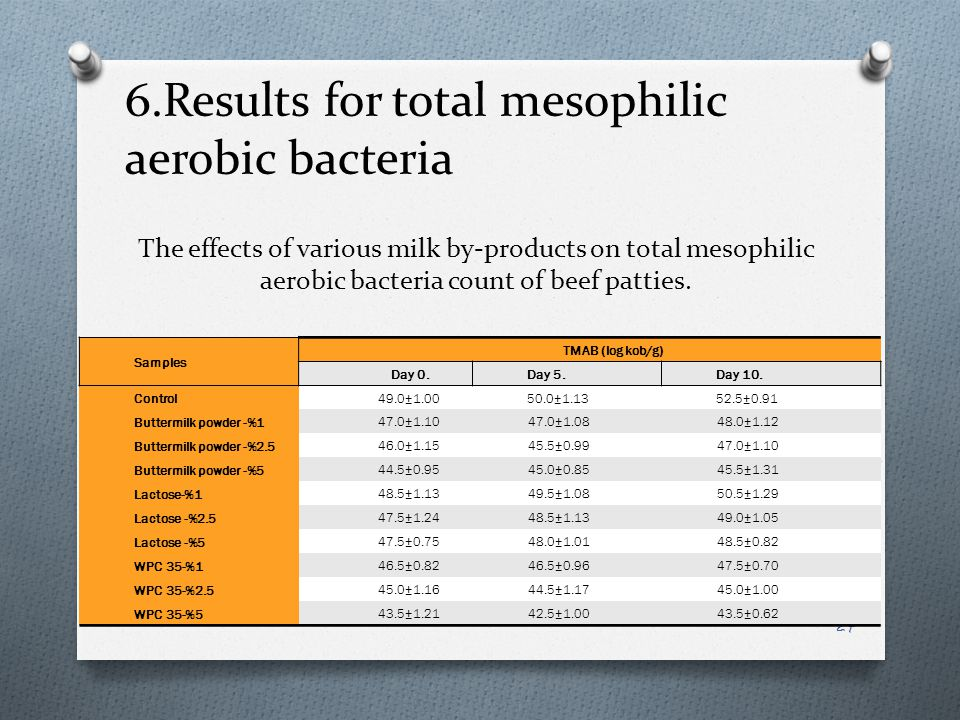 The effects of various milk by-products on total mesophilic aerobic bacteria count of beef patties.