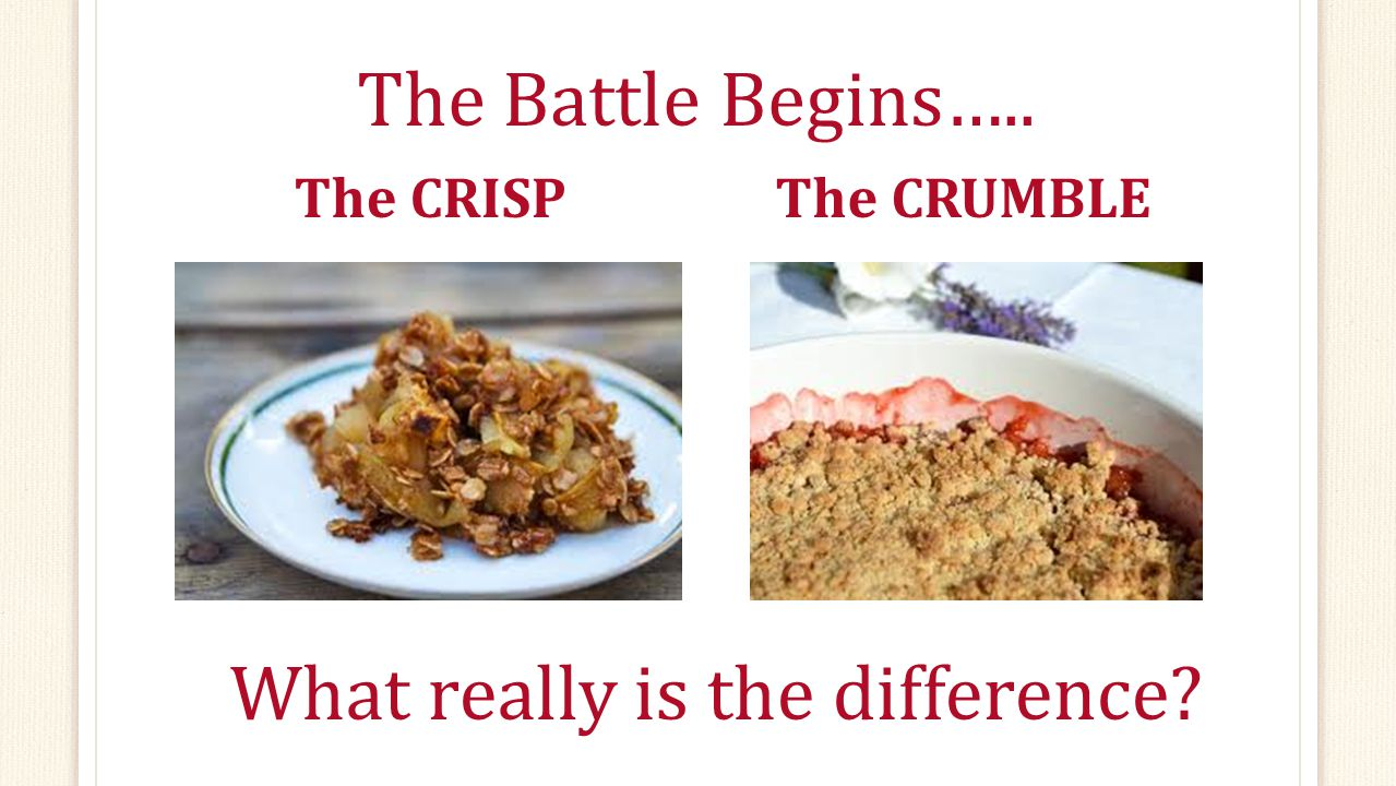 The Battle Begins….. The CRISPThe CRUMBLE What really is the difference