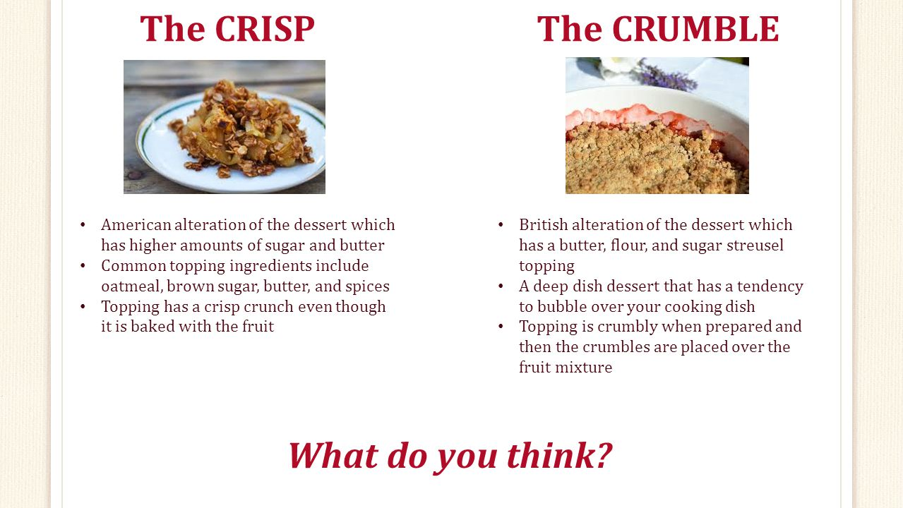 The CRISP The CRUMBLE American alteration of the dessert which has higher amounts of sugar and butter Common topping ingredients include oatmeal, brown sugar, butter, and spices Topping has a crisp crunch even though it is baked with the fruit British alteration of the dessert which has a butter, flour, and sugar streusel topping A deep dish dessert that has a tendency to bubble over your cooking dish Topping is crumbly when prepared and then the crumbles are placed over the fruit mixture What do you think