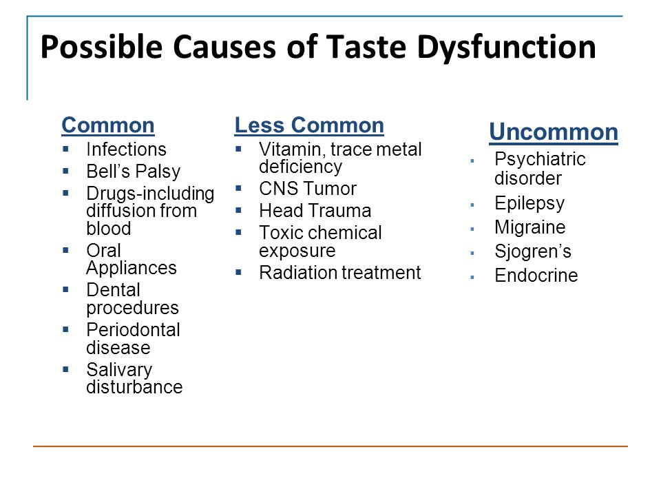 Possible Causes of Taste Dysfunction Common  Infections  Bell's Palsy  Drugs-including diffusion from blood  Oral Appliances  Dental procedures  Periodontal disease  Salivary disturbance Less Common  Vitamin, trace metal deficiency  CNS Tumor  Head Trauma  Toxic chemical exposure  Radiation treatment Uncommon  Psychiatric disorder  Epilepsy  Migraine  Sjogren's  Endocrine disorder