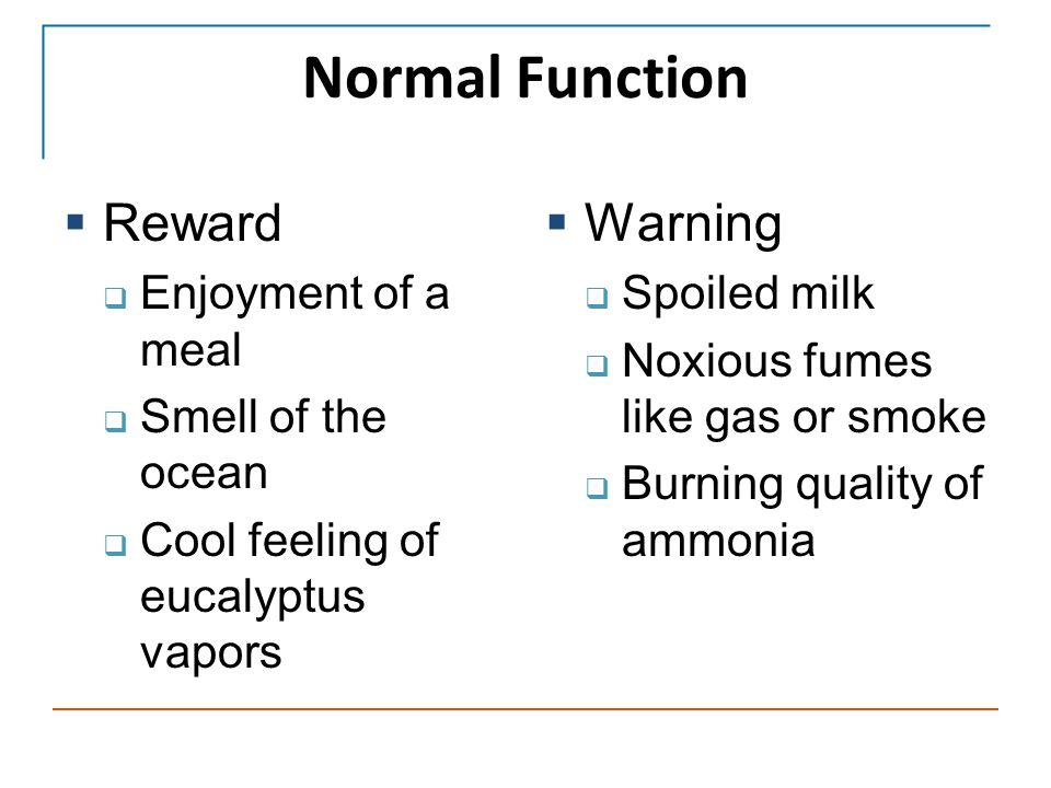 Normal Function  Reward  Enjoyment of a meal  Smell of the ocean  Cool feeling of eucalyptus vapors  Warning  Spoiled milk  Noxious fumes like gas or smoke  Burning quality of ammonia