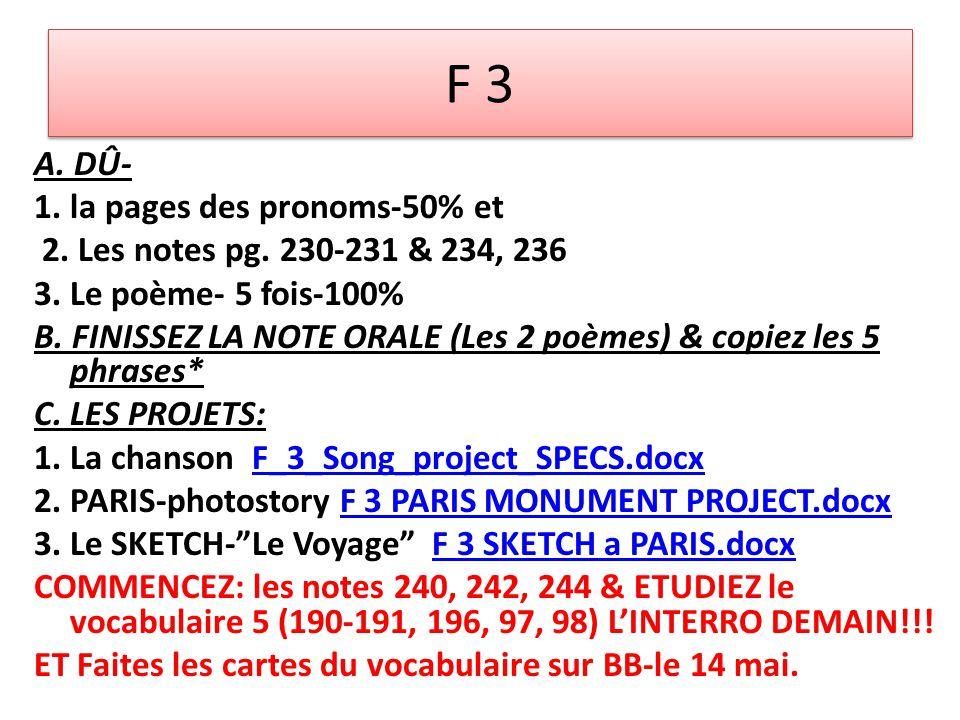 F 3 A. DÛ- 1. la pages des pronoms-50% et 2. Les notes pg. 230-231 & 234, 236 3. Le poème- 5 fois-100% B. FINISSEZ LA NOTE ORALE (Les 2 poèmes) & copi